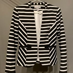 H&M Black and White Striped Blazer